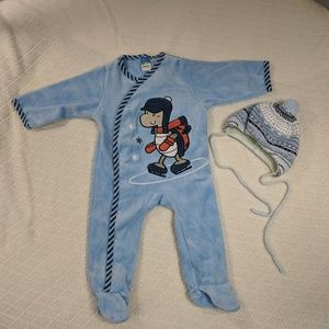 Other - Baby blue romper with hat